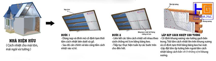 hướng dẫn lắp đặt túi khí cách nhiệt mái nhà hiện hữu