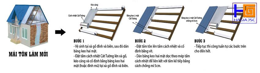 hướng dẫn lắp đặt túi khí cách nhiệt mái tôn làm mới